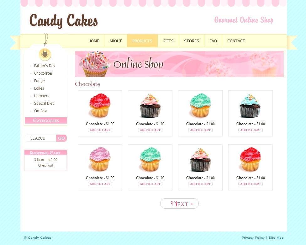 Cupcake Shop Website Template