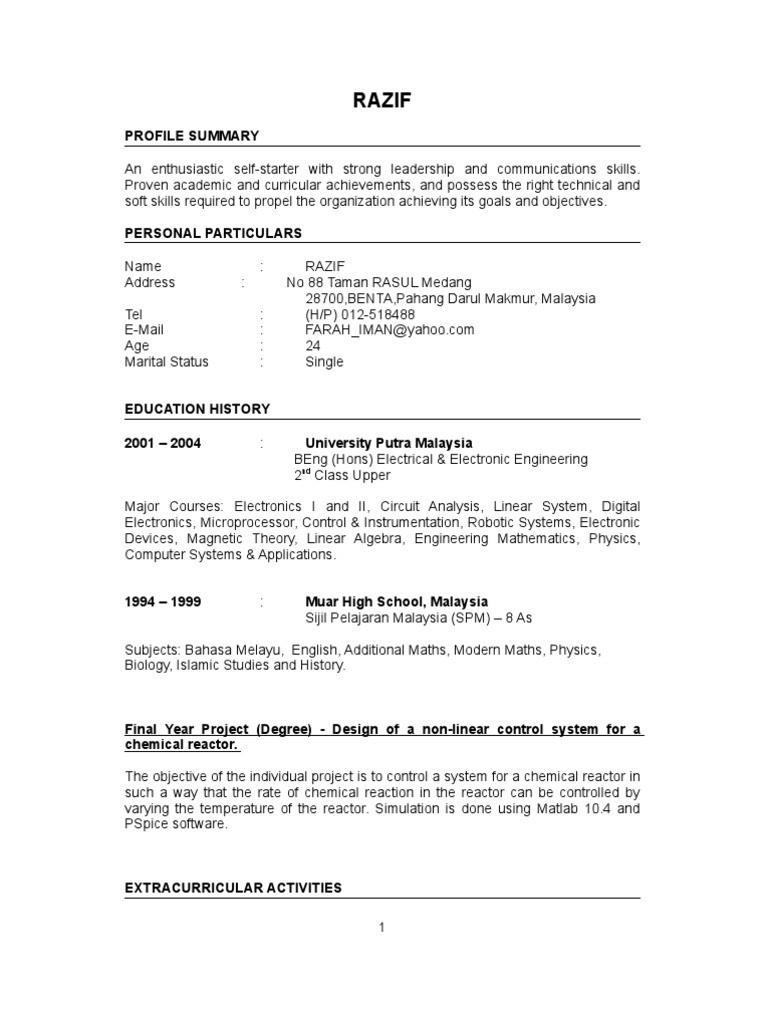 Curriculum Vitae Template Indonesia