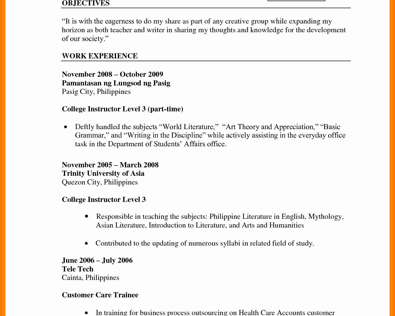 Curriculum Vitae Templates For Teachers