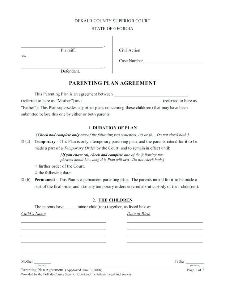 Custody Agreement Template Bc