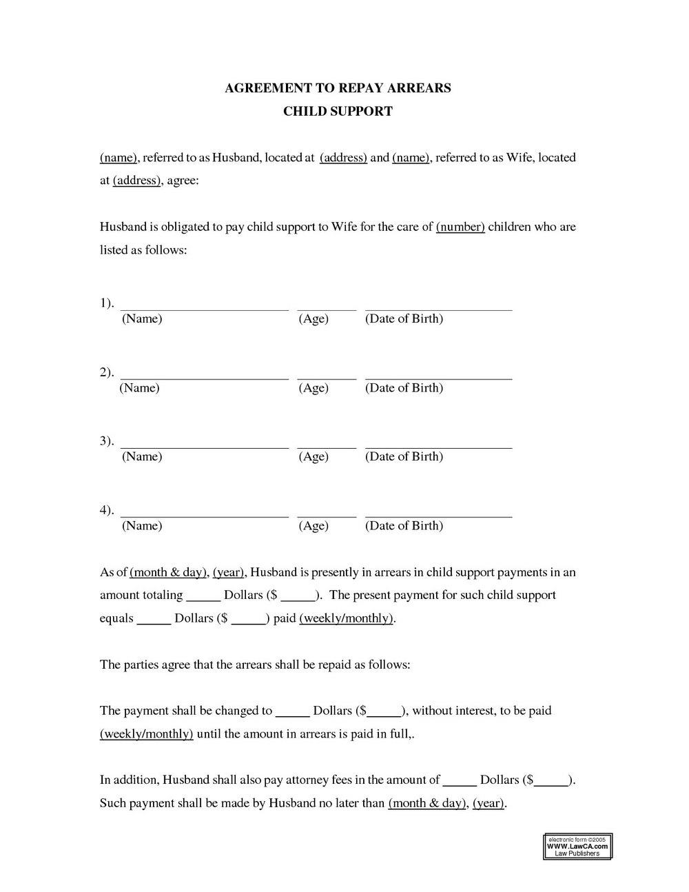 Custody Agreement Template Nc