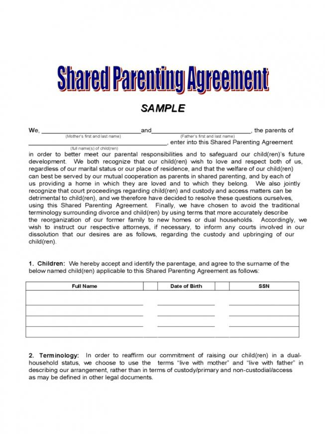 Custody Agreement Template Ontario