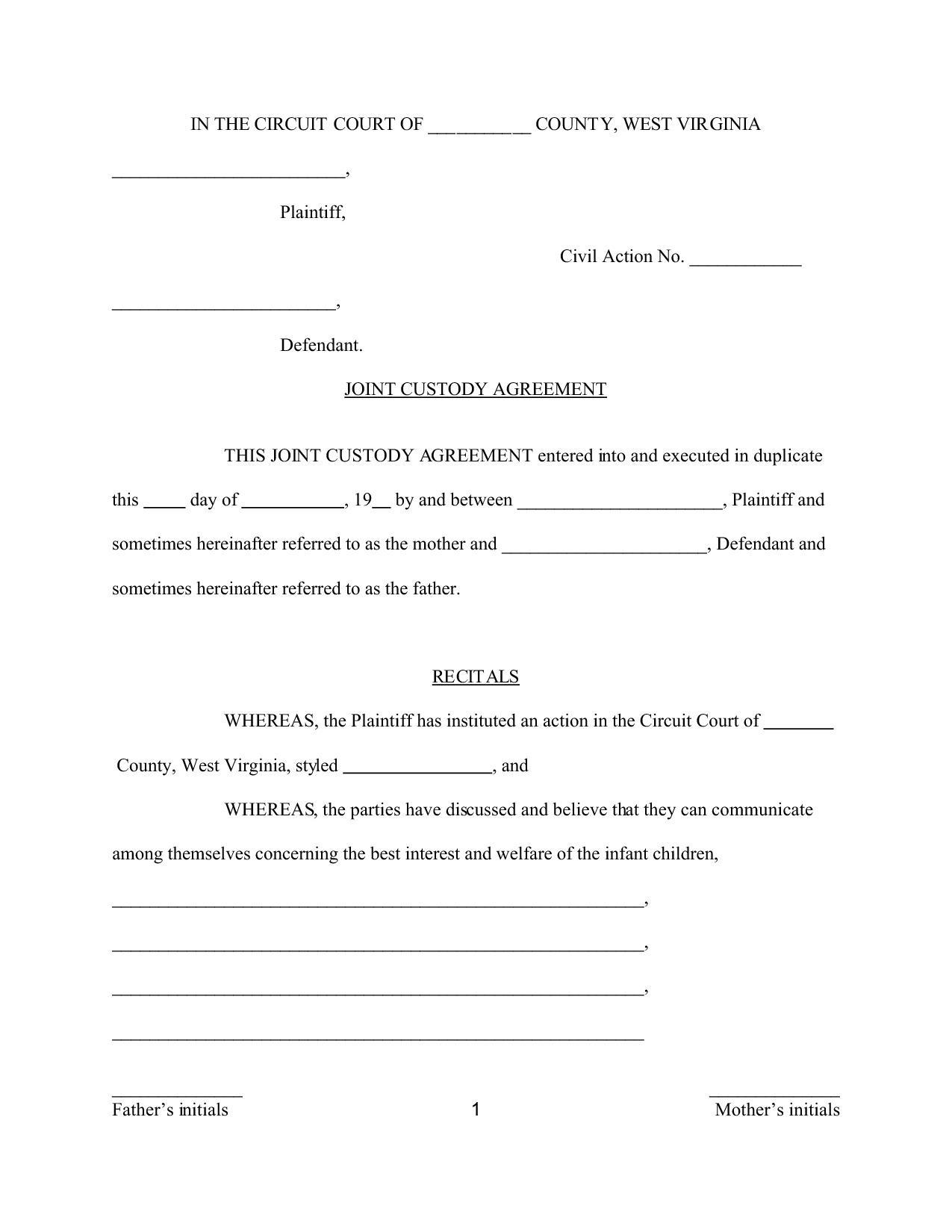 Custody Agreement Template Virginia