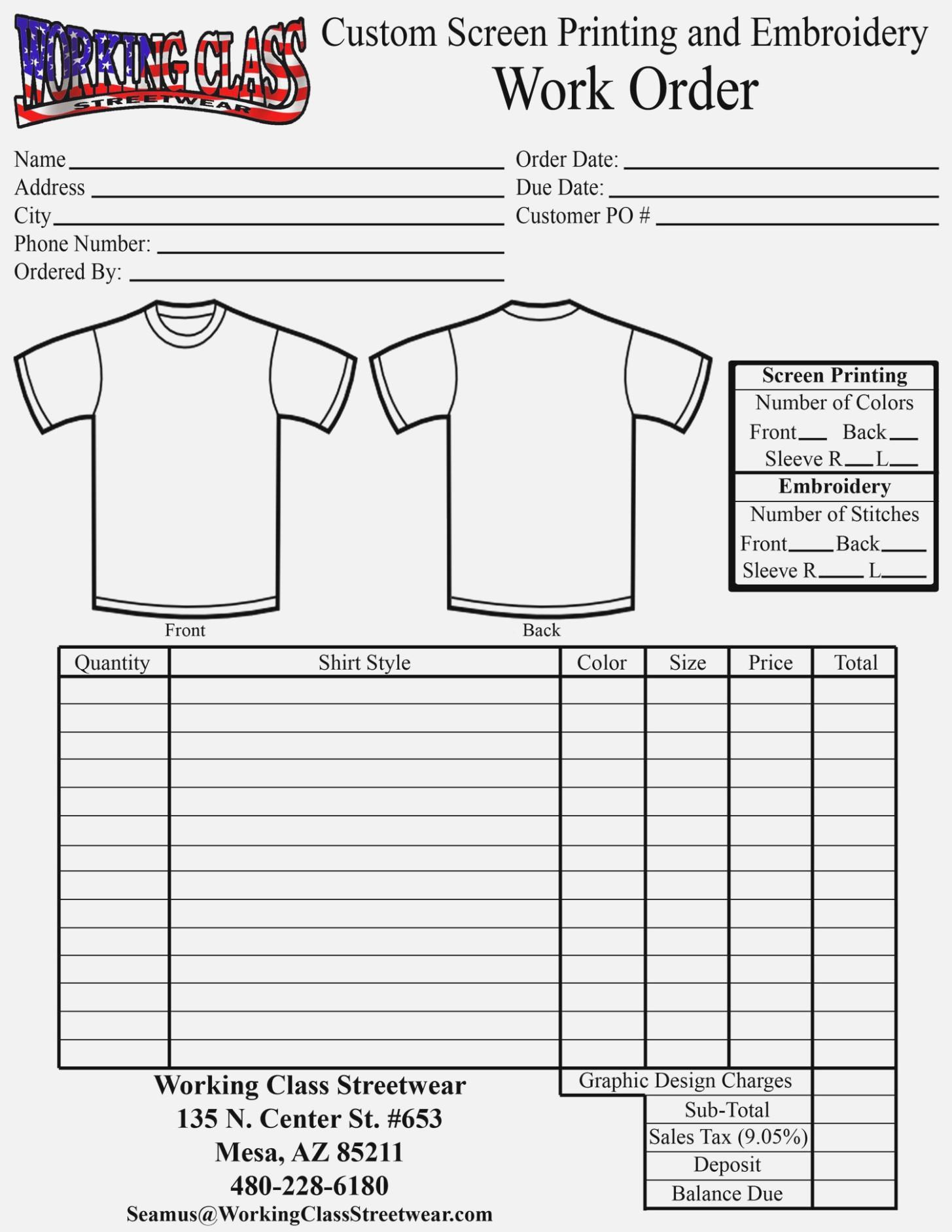 Custom Shirt Order Form Template