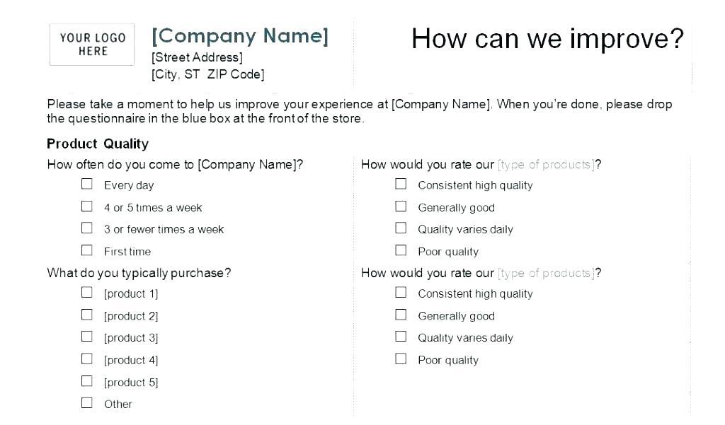 Customer Satisfaction Questionnaire Template .doc