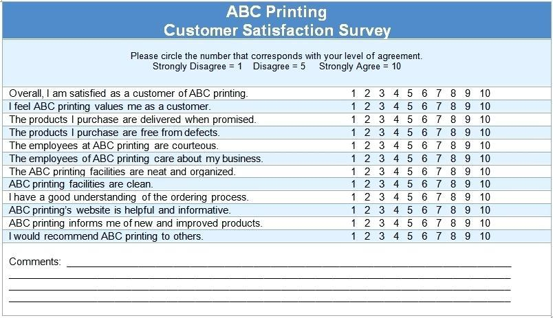 Customer Satisfaction Survey Questions For Service Industry Template