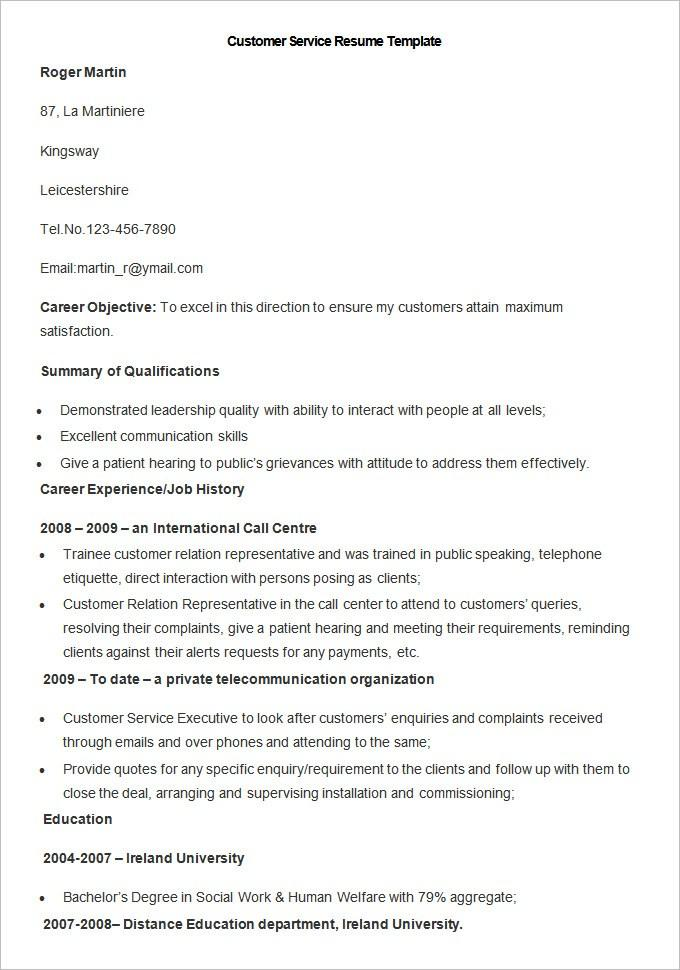 Customer Service Resume Template Pdf