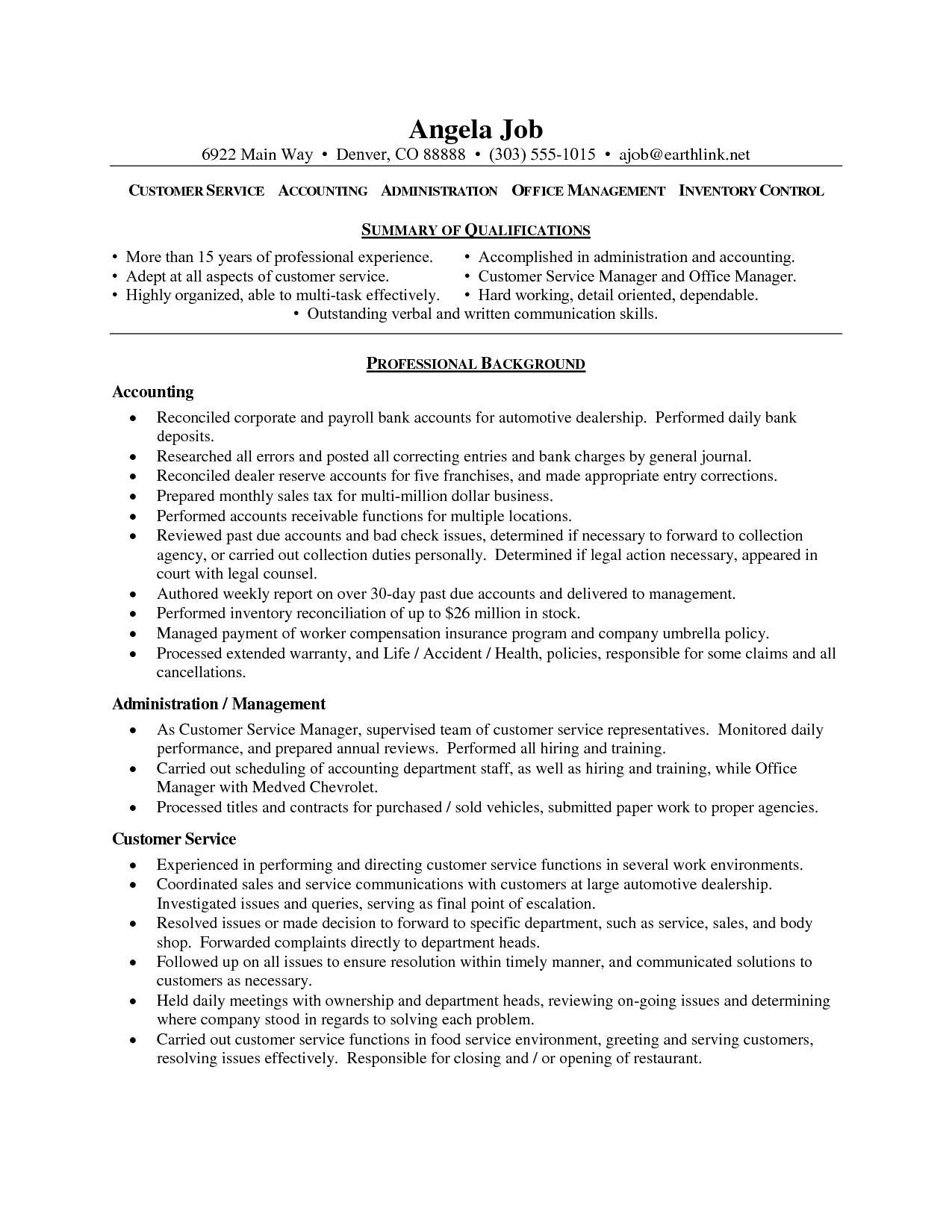 Customer Service Sample Resume Objective