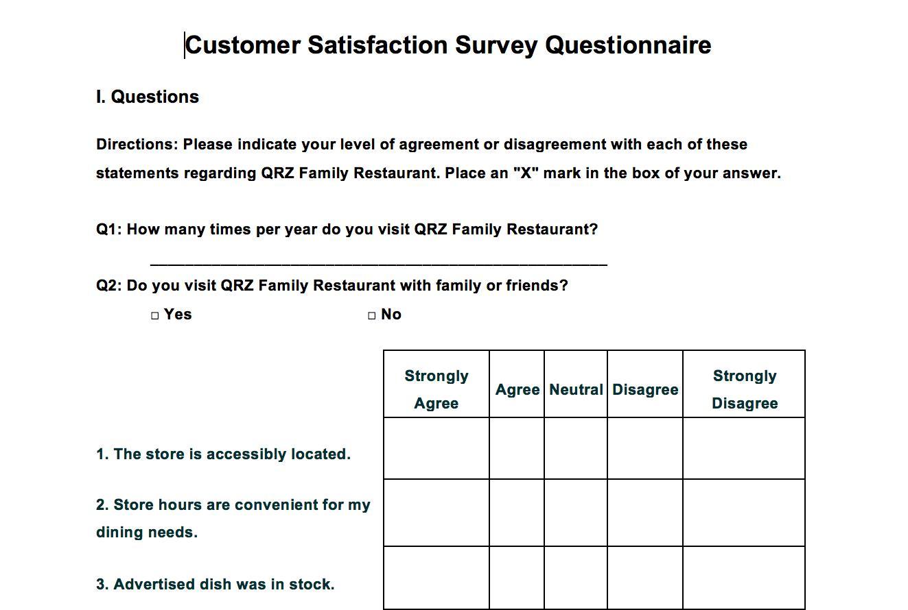 Customer Survey Form Template Word
