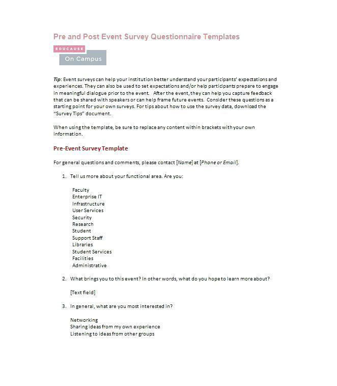 Customer Survey Questionnaire For Restaurant