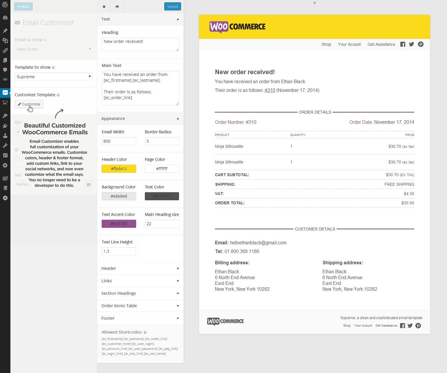 Customise Woocommerce Email Templates