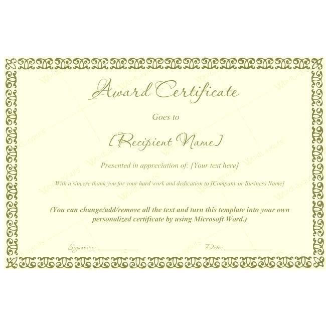 Customizable Award Certificate Templates