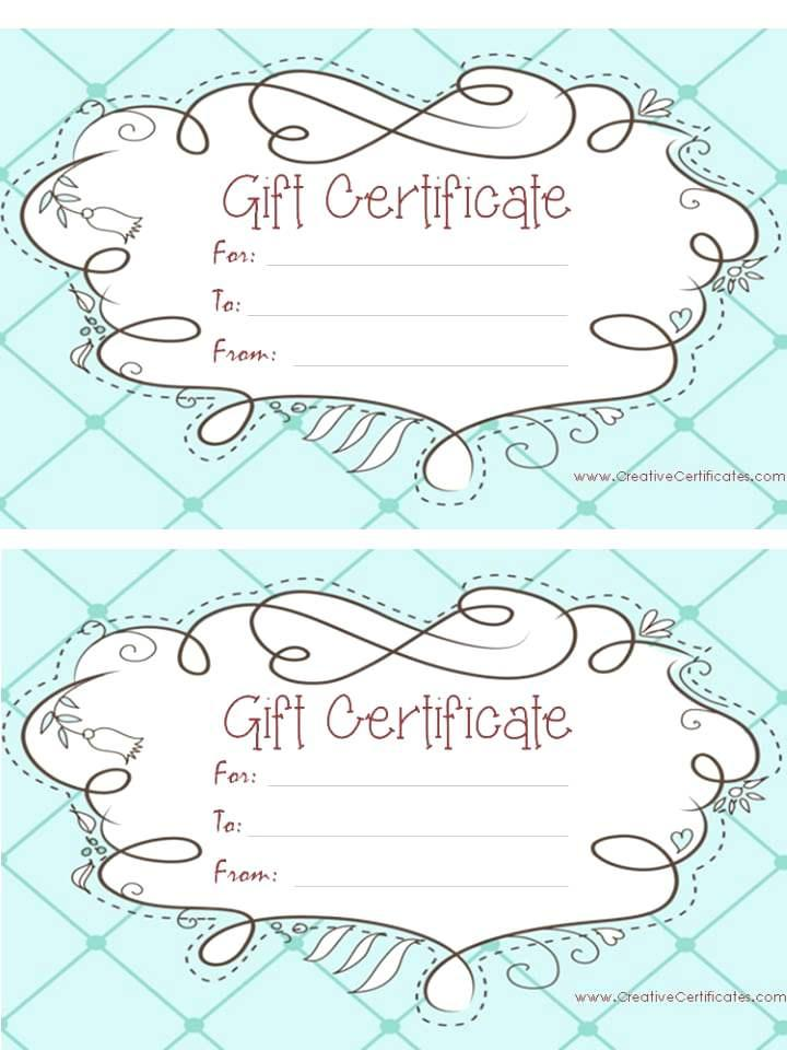 Customized Gift Certificate Templates