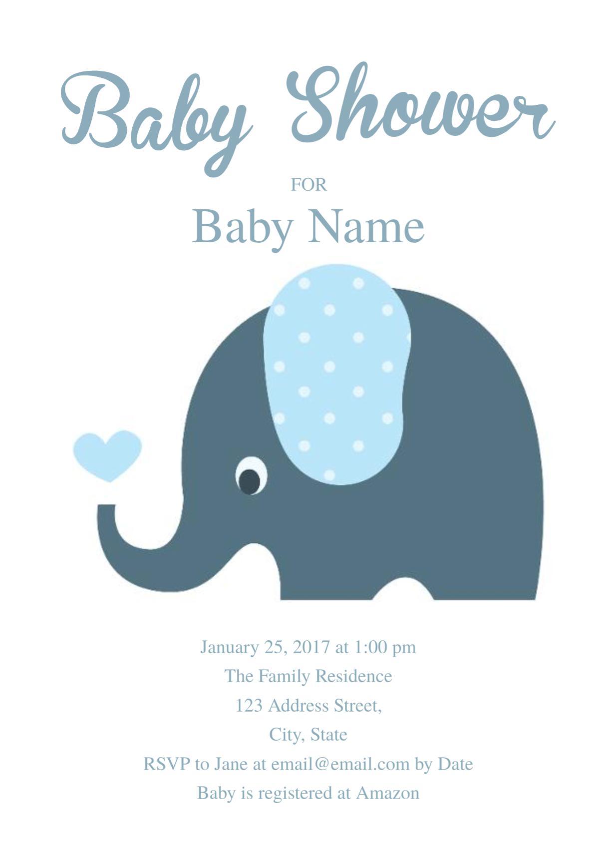 Cute Elephant Baby Shower Invitation Templates