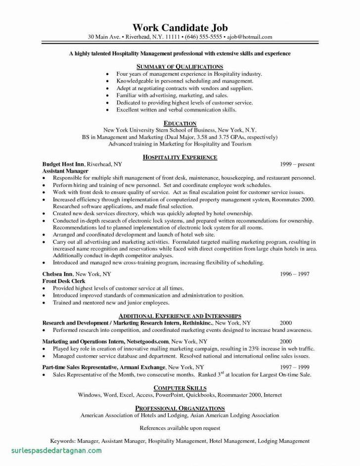 Cv Template Assistant Restaurant Manager