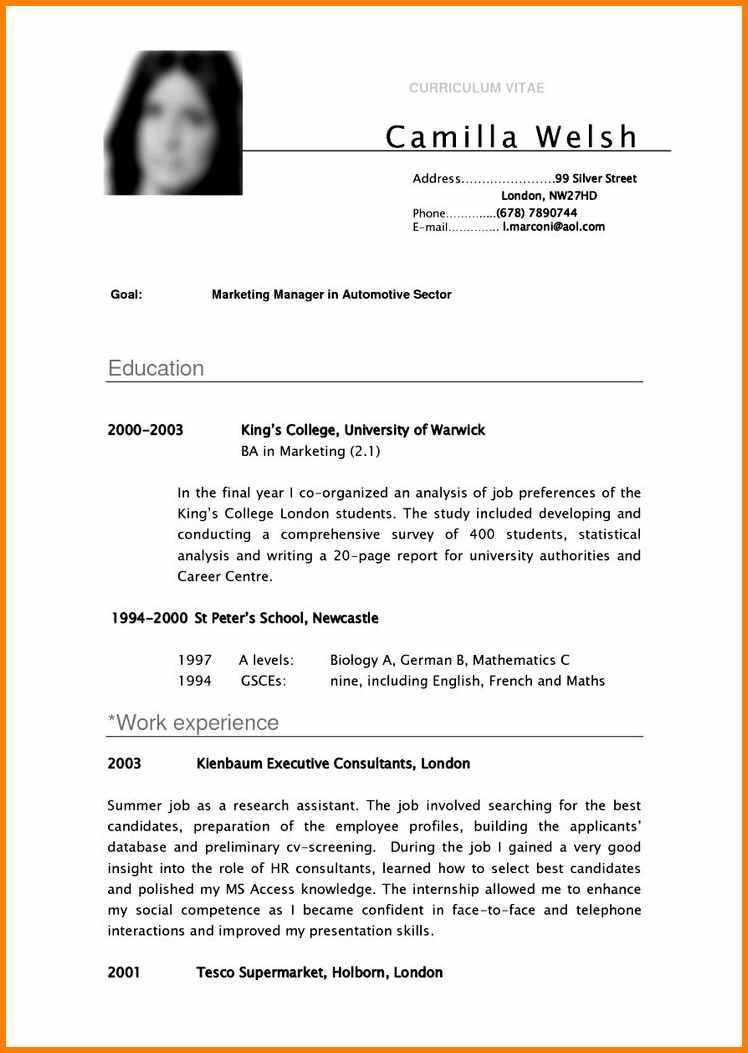 Cv Template For College Students