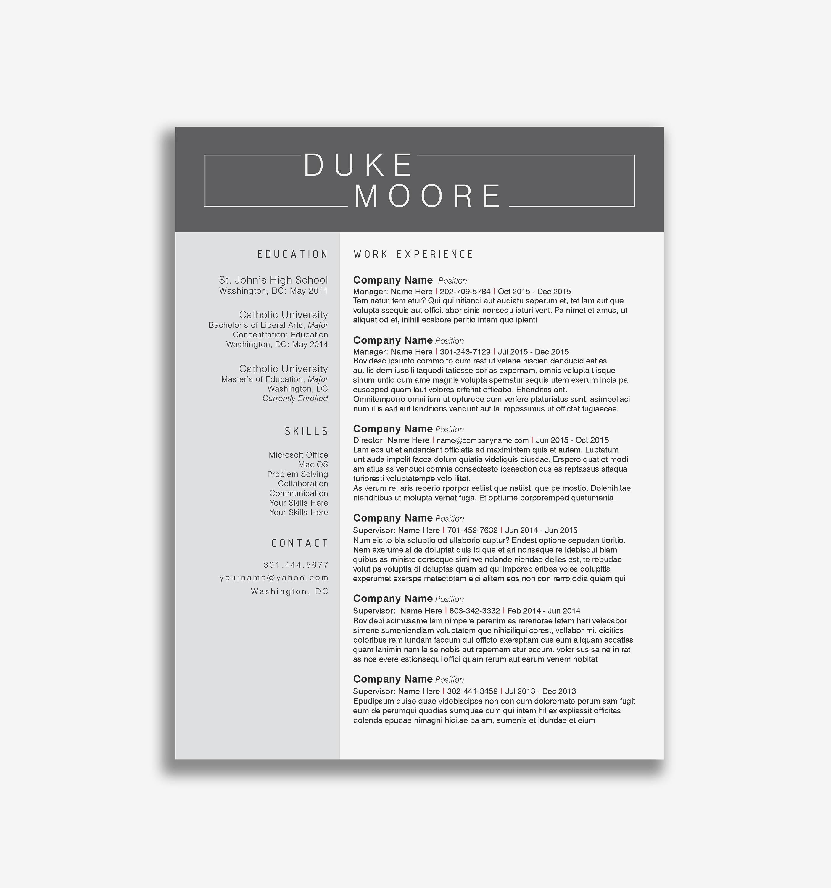 Cv Template Free Download Docx