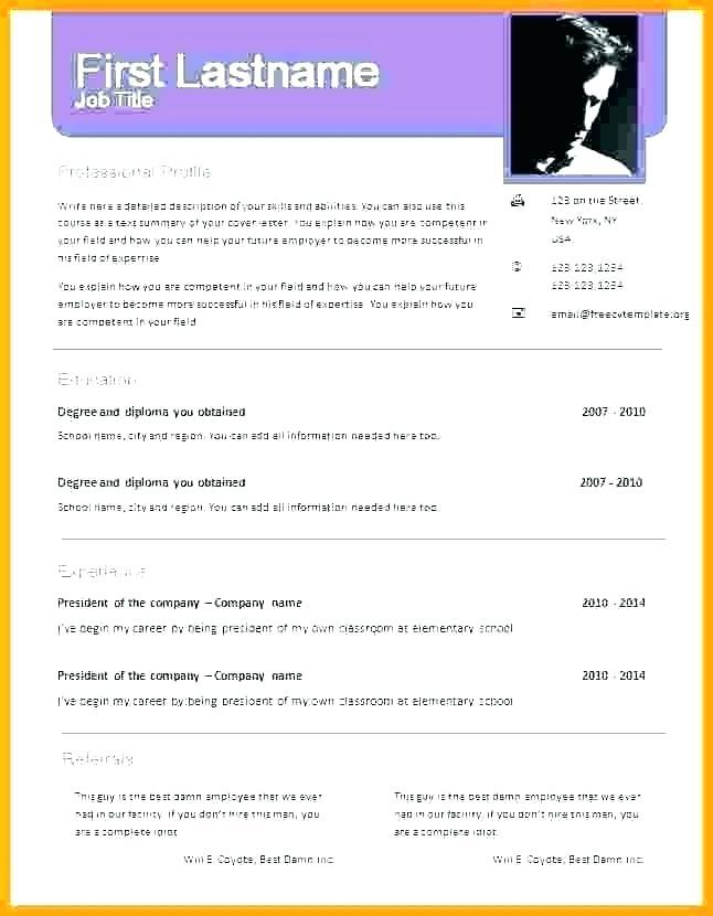 Cv Template Free Download Word Document