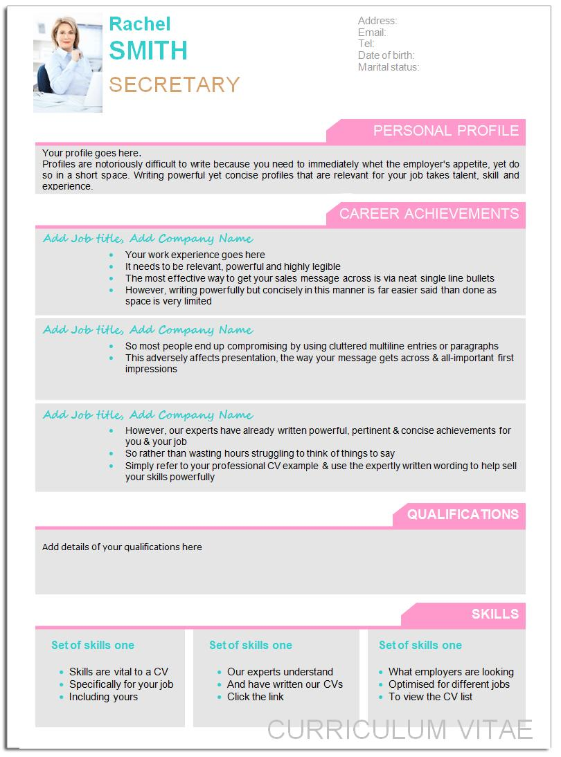 Cv Templates Free Download Word Document 2017