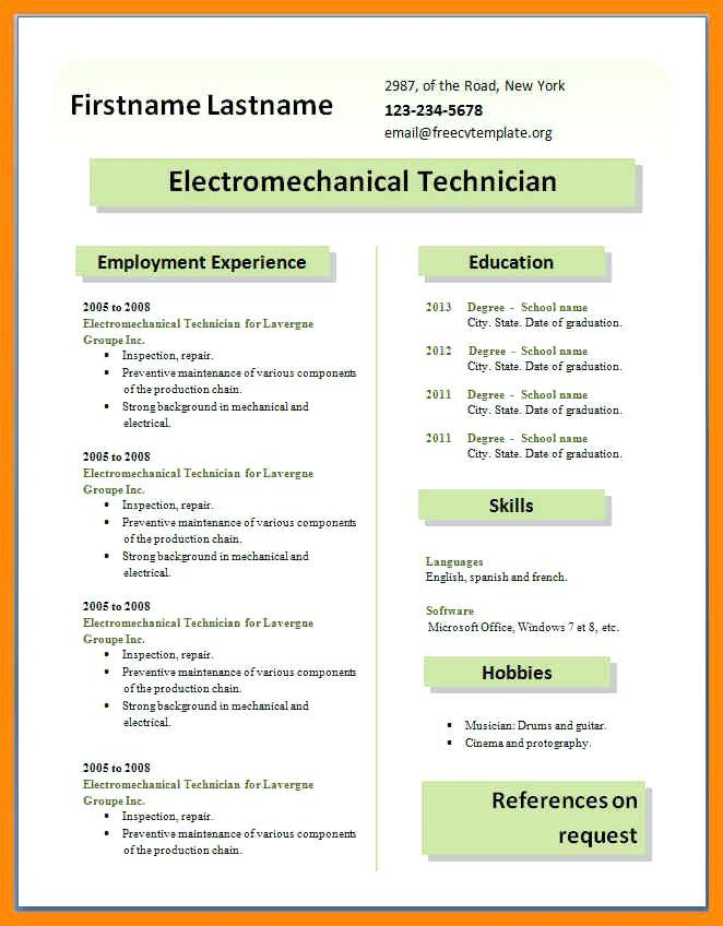 Cv Templates Free Download Word Document For Students