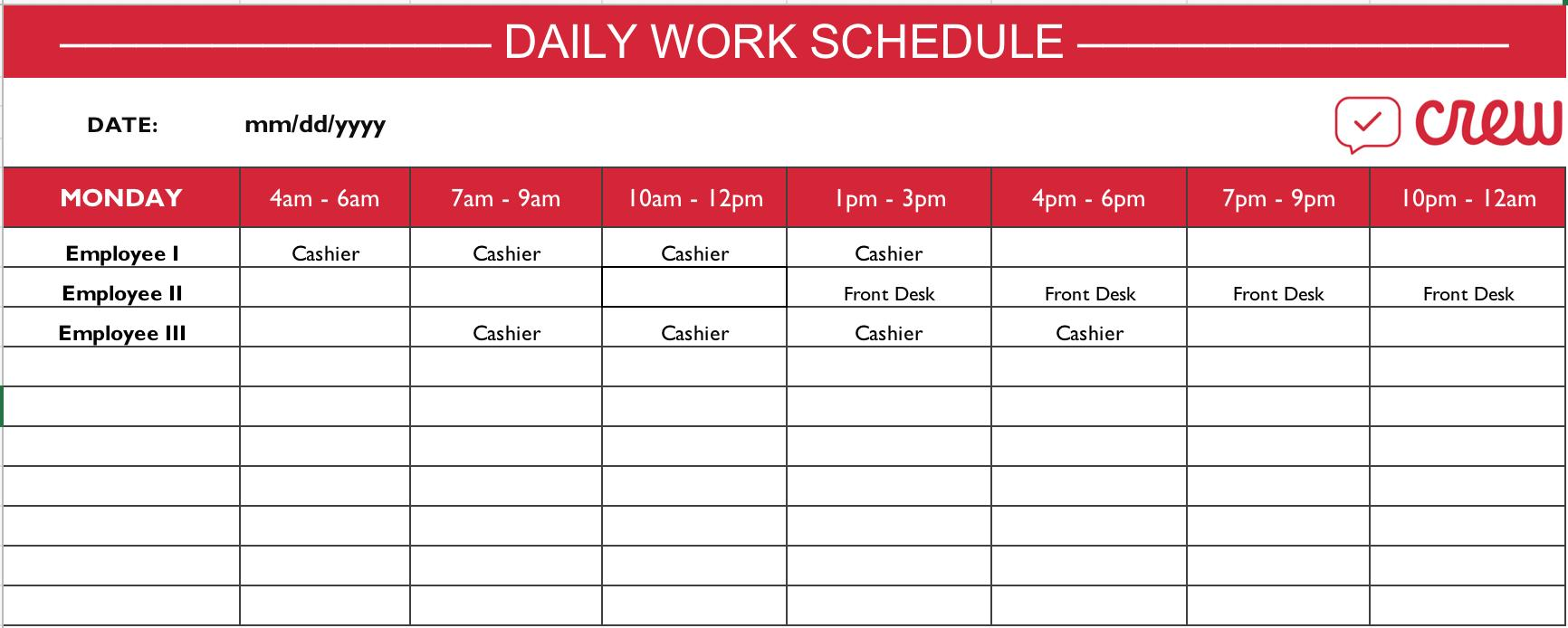 Daily Work Schedule Template Doc