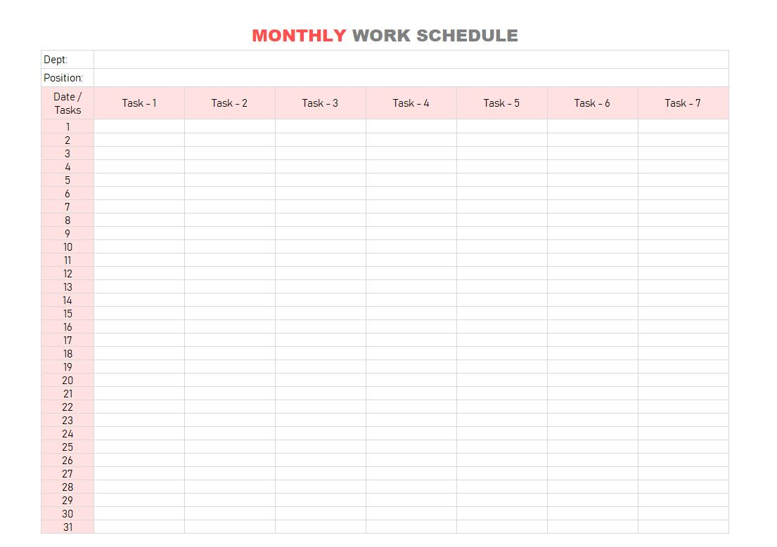 Daily Work Schedule Template Pdf