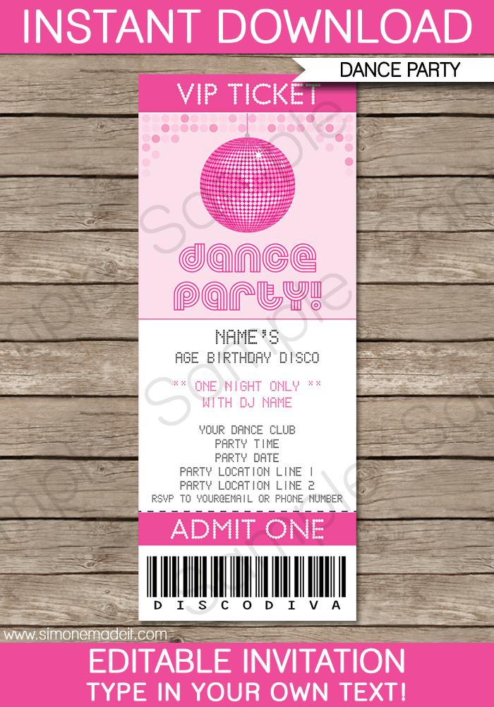 Dance Party Invitation Template