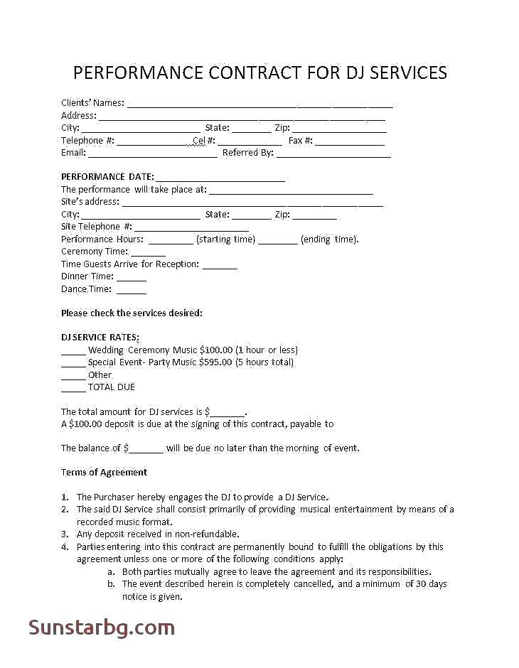 Dance Performance Contract Template