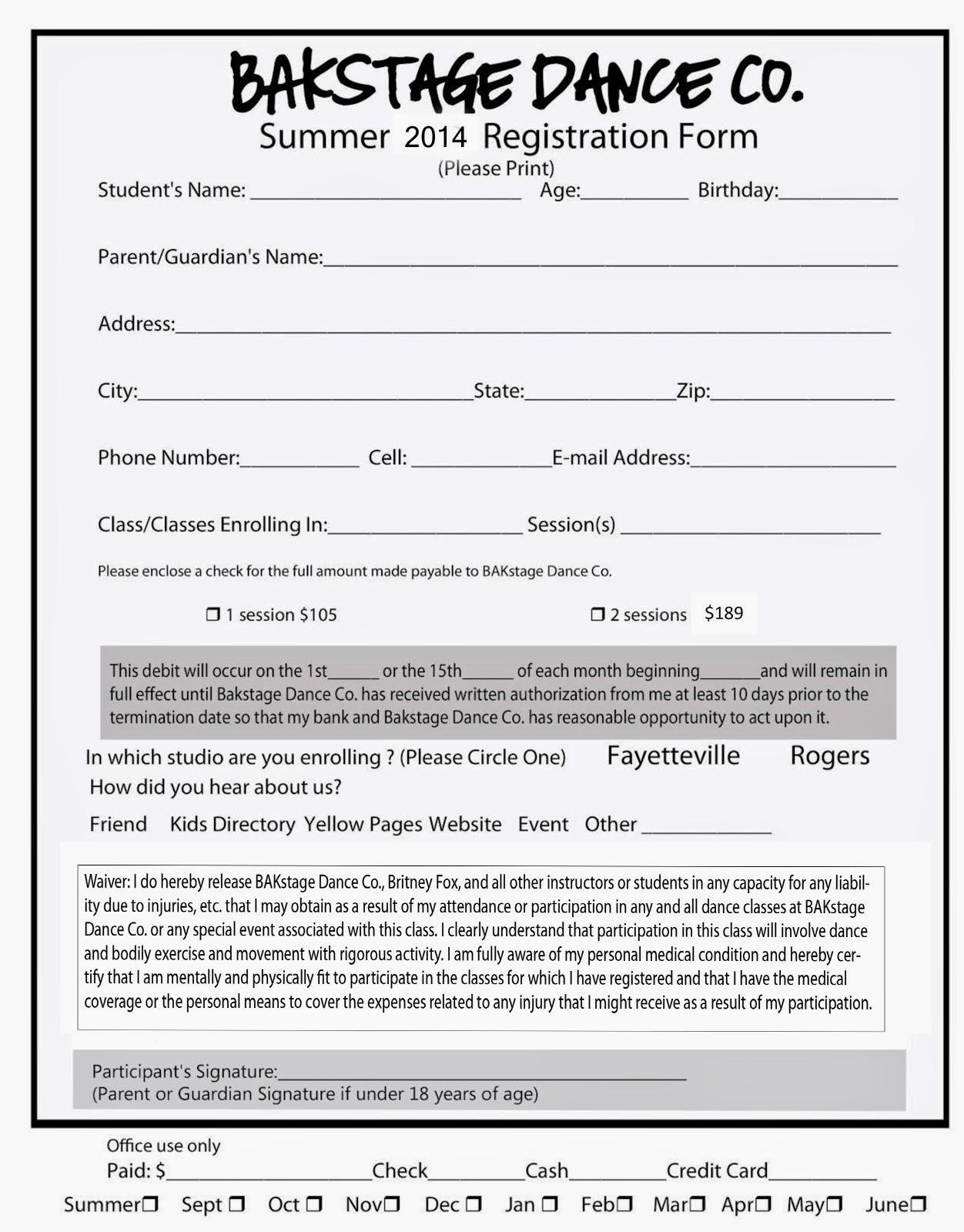 Dance Registration Form Template Free