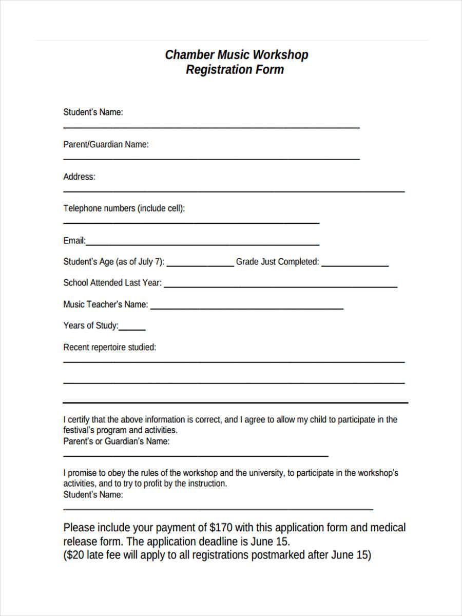 Dance Workshop Registration Form Template