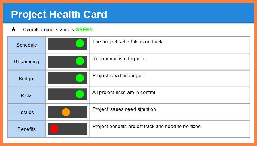 Dashboard Project Status Report Template