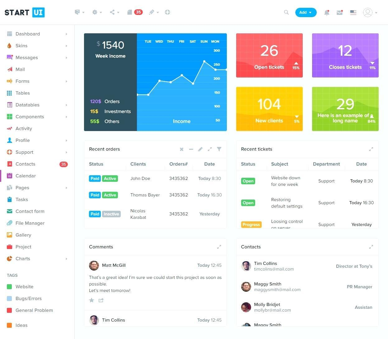 Dashboard Templates Bootstrap Free Download