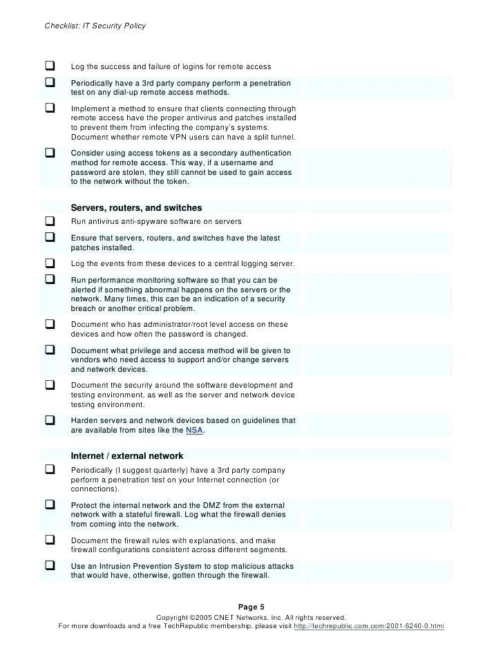 Data Center Maintenance Checklist Template
