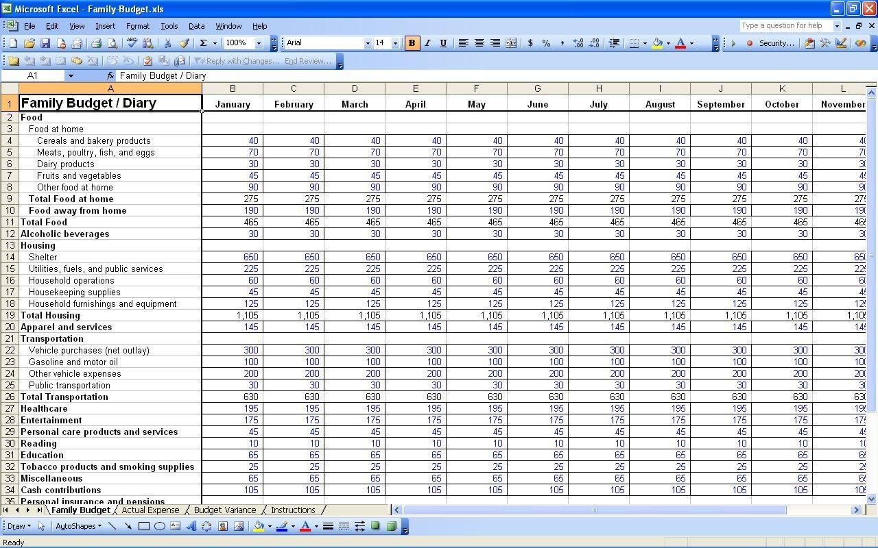 Daycare Budget Template Excel