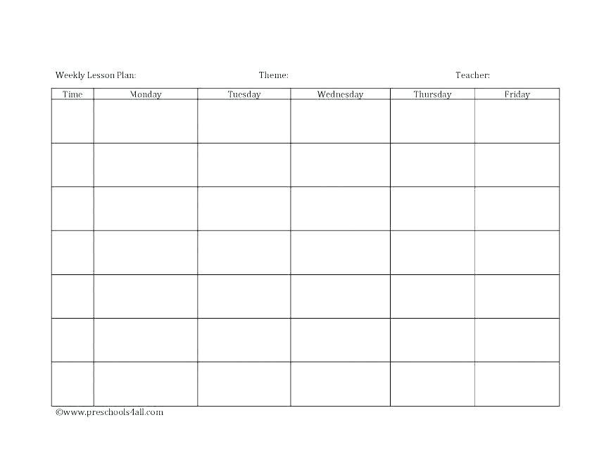 Daycare Class Schedule Template