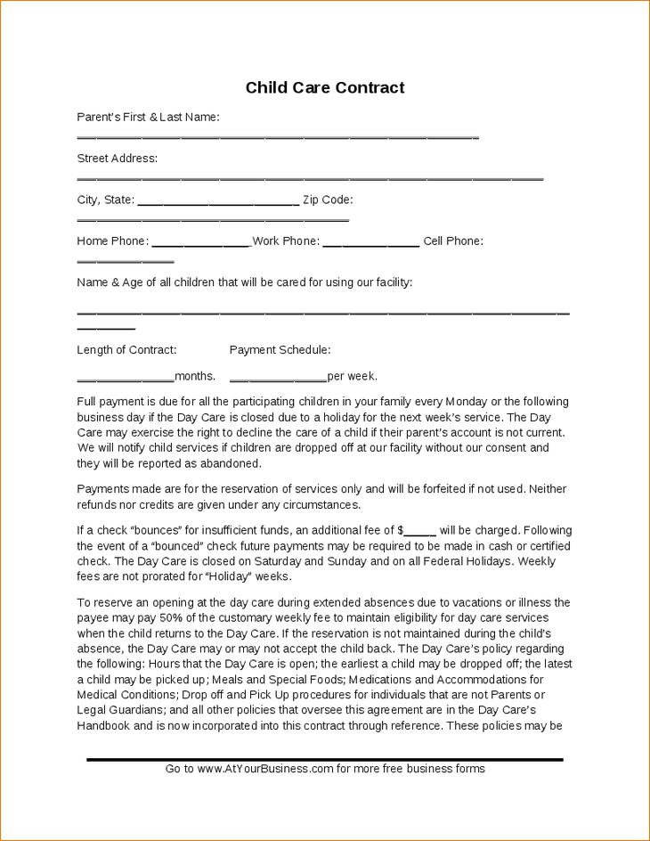 Daycare Contract Printable
