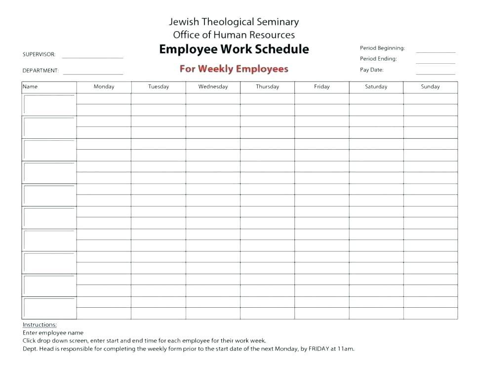 Daycare Employee Schedule Template