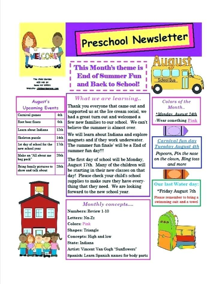 Daycare Newsletter Format