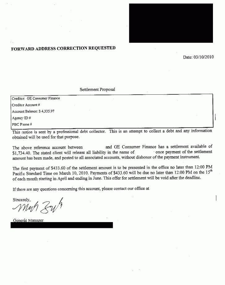 Debt Settlement Letter Samples Pdf
