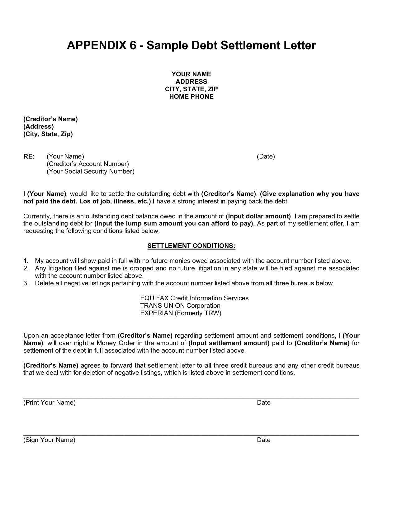 Debt Settlement Letter Templates