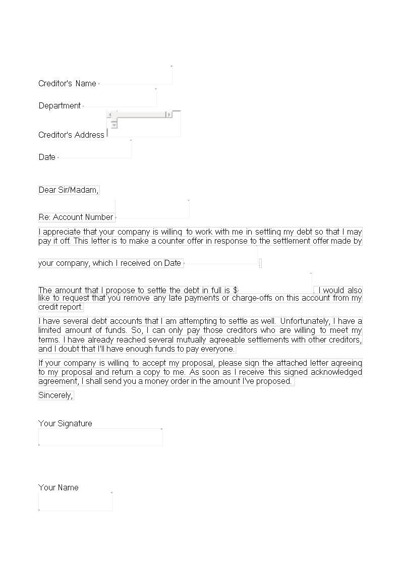 Debt Settlement Offer Letter Templates