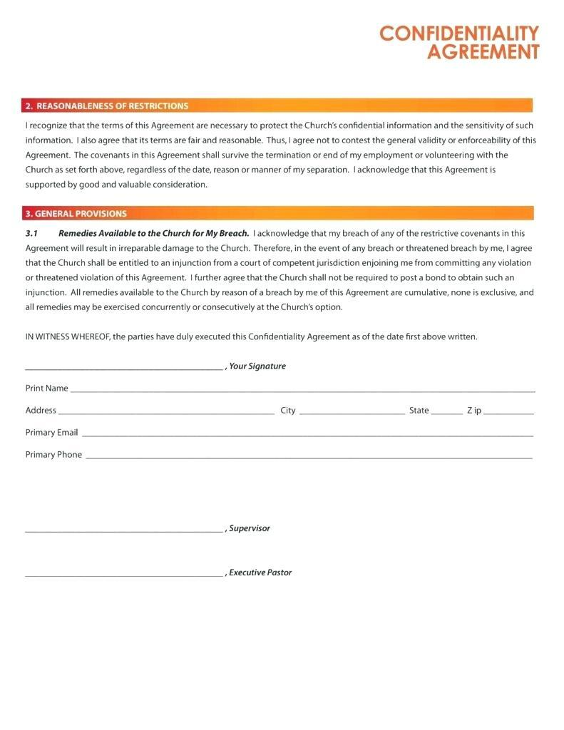 Declaration Of Confidentiality Form