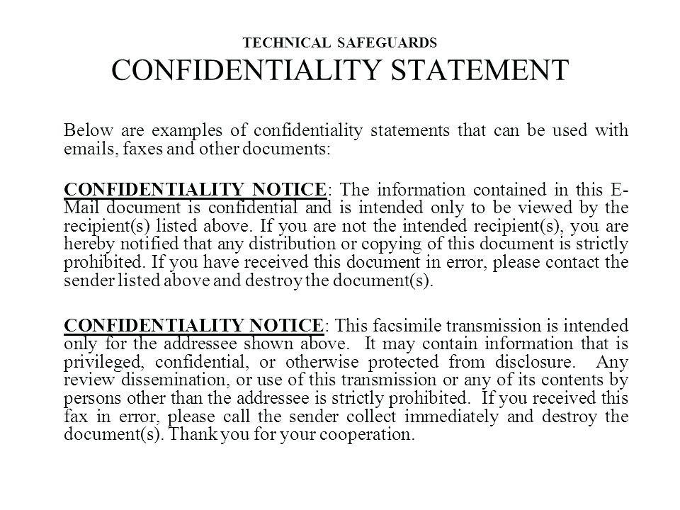 Declaration Of Confidentiality Sample