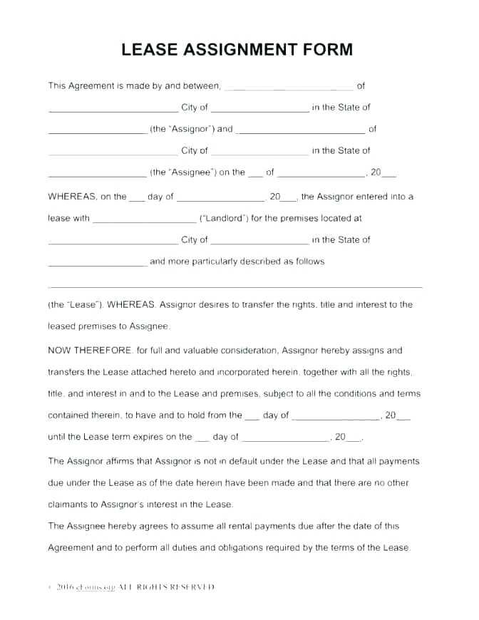 Deed Of Assignment Of Lease Template