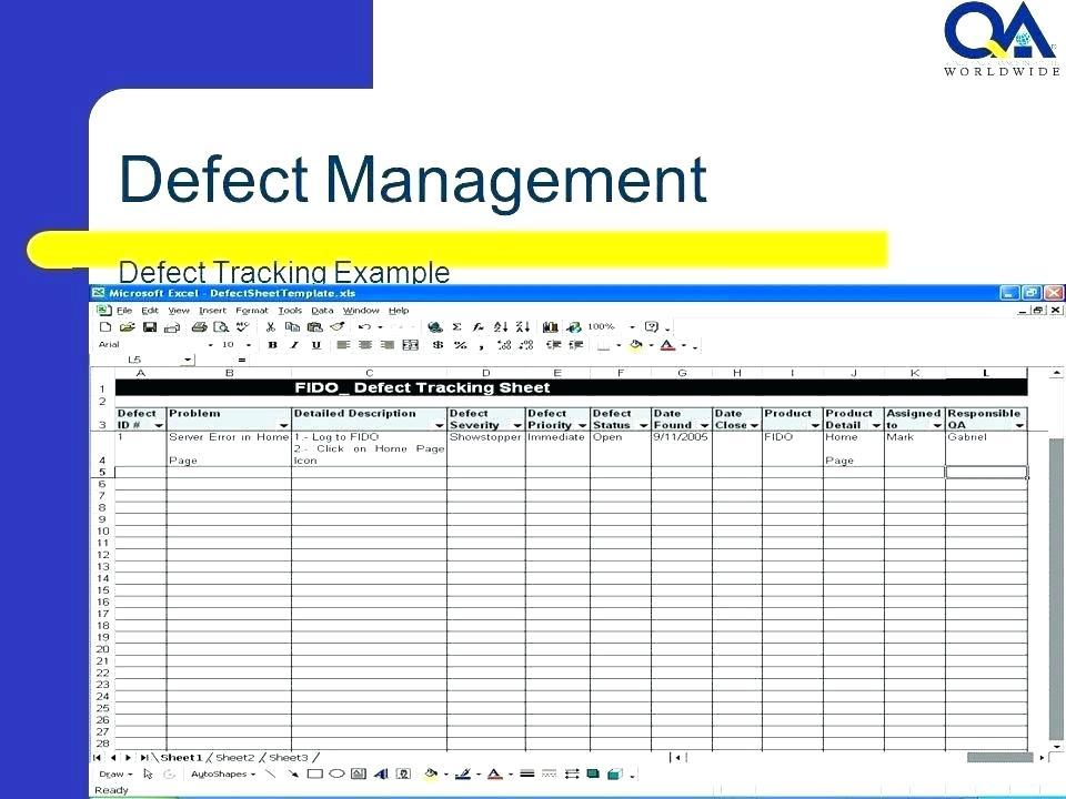Defect Tracking Sheet Template Excel