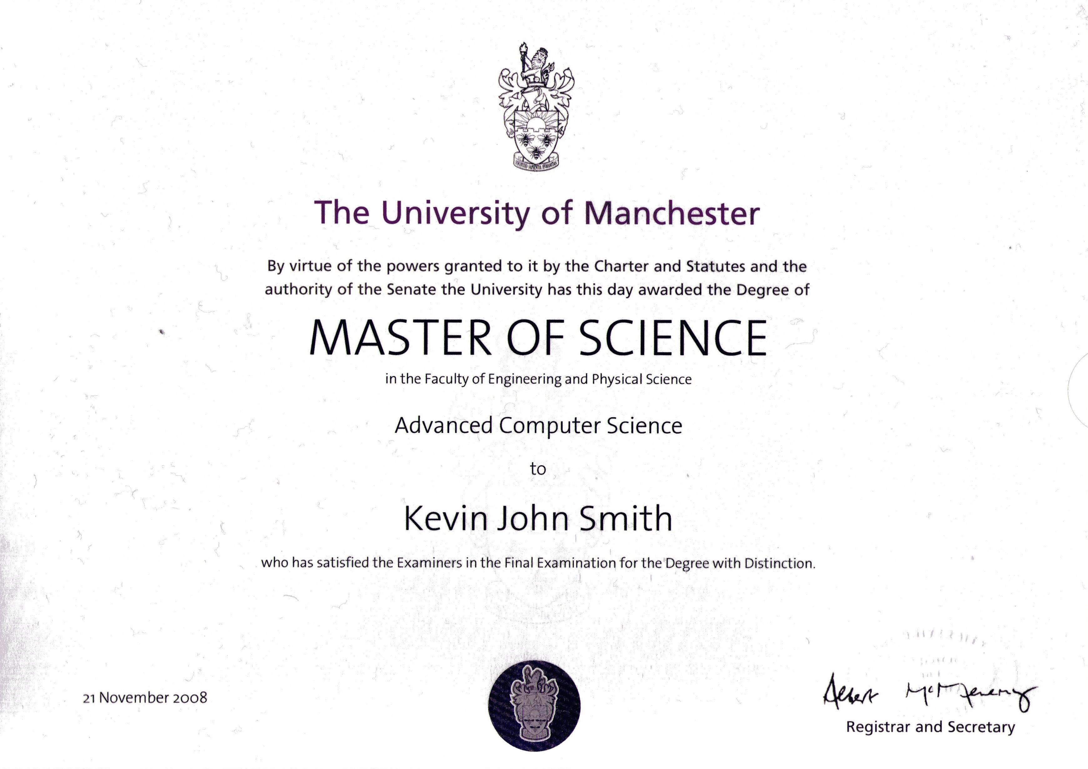 Degree Certificate Layout