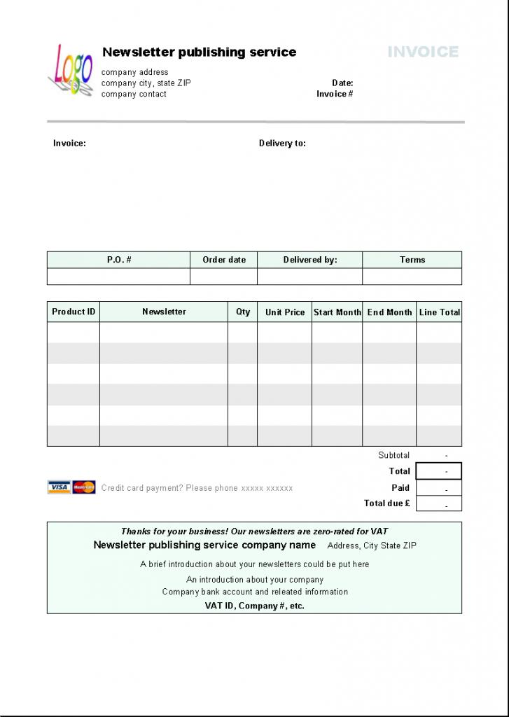 Delivery Service Invoice Template