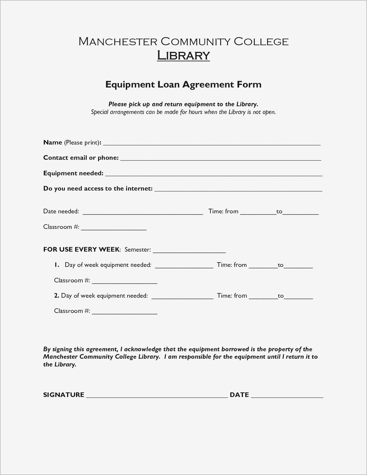Demo Equipment Loan Agreement Form