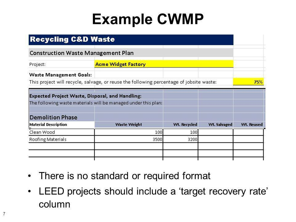 Demolition Waste Management Plan Template