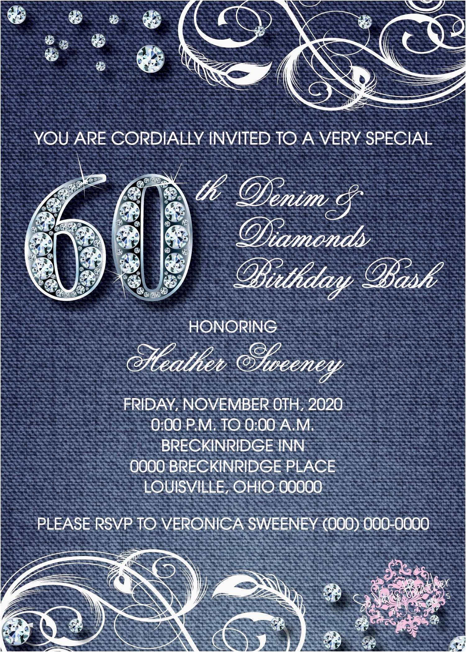 Denim And Diamonds Party Invitation Templates